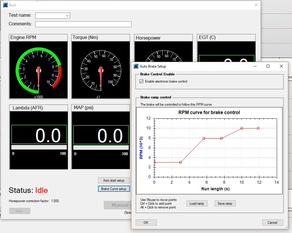 Any curve is supported, be it steady state at a single RPM, continuous  ramp, or whatever. It is recommended not to change RPM in steps, as the  brake force ...